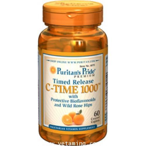 C-Time 1000 Vitamin C  with Bioflavonoids and Rose hip  วิตามินซี 1000mg. 60 เม็ด