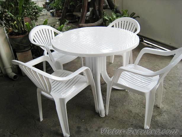 เช่าโต๊ะ-เก้าอี้ - ชุดโต๊ะ-เก้าอี้สนามสีขาว พร้อมร่มสนาม 6