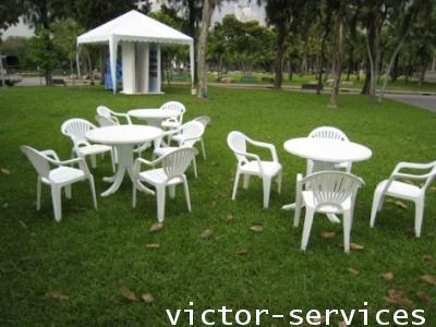 เช่าโต๊ะ-เก้าอี้ - ชุดโต๊ะ-เก้าอี้สนามสีขาว พร้อมร่มสนาม 8
