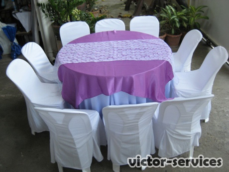 เช่าโต๊ะจีน -เก้าอี้พลาสติกคลุมผ้า ผูกโบว์สีม่วง 5