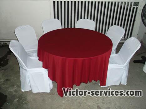 เช่าโต๊ะจีน -เก้าอี้พลาสติก คลุมผ้าโต๊ะสีแดง 3