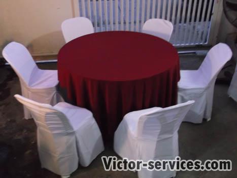 เช่าโต๊ะจีน -เก้าอี้พลาสติก คลุมผ้าโต๊ะสีแดง 4