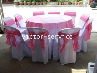 เช่าโต๊ะจีน -เก้าอี้พลาสติกคลุมผ้า ผูกโบว์สีชมพู 5