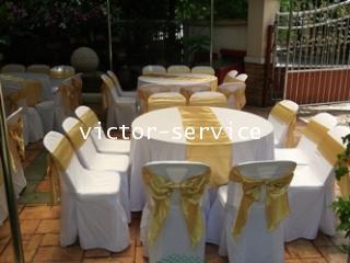 เช่าโต๊ะจีน -เก้าอี้พลาสติกคลุมผ้า ผูกโบว์สีทอง 4