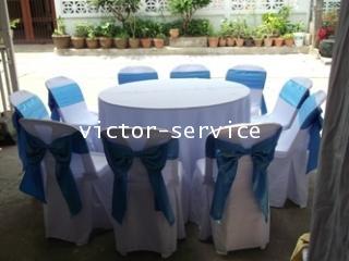 เช่าโต๊ะจีน -เก้าอี้พลาสติกคลุมผ้า ผูกโบว์สีฟ้า 9