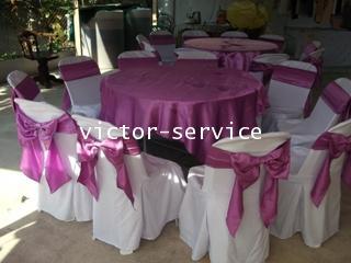 เช่าโต๊ะจีน -เก้าอี้พลาสติกคลุมผ้า ผูกโบว์สีม่วง 6
