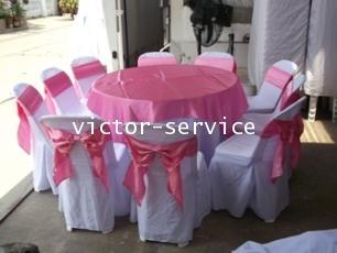 เช่าโต๊ะจีน -เก้าอี้พลาสติกคลุมผ้า ผูกโบว์สีชมพู 7