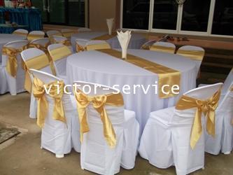 เช่าโต๊ะจีน -เก้าอี้พลาสติกคลุมผ้า ผูกโบว์สีทอง 6