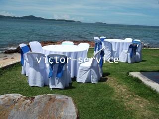 เช่าโต๊ะจีน -เก้าอี้พลาสติกคลุมผ้า ผูกโบว์สีฟ้า 4