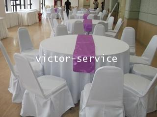 เช่าโต๊ะจีน -เก้าอี้พลาสติกคลุมผ้า ผูกโบว์สีม่วง 8