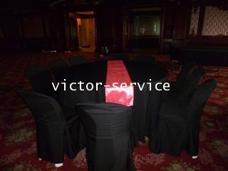 เช่าโต๊ะจีน คลุมผ้าดำ เก้าอี้พลาสติกขาวคลุมผ้าดำ 2