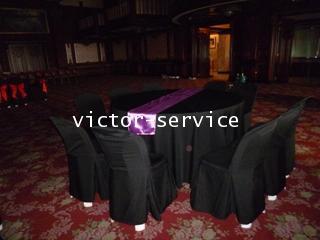 เช่าโต๊ะจีน คลุมผ้าดำ เก้าอี้พลาสติกขาวคลุมผ้าดำ 3
