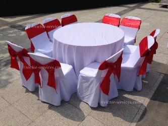 เช่าโต๊ะจีน -เก้าอี้พลาสติกคลุมผ้า ผูกโบว์สีแดง 4