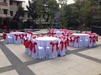 เช่าโต๊ะจีน -เก้าอี้พลาสติกคลุมผ้า ผูกโบว์สีแดง 5