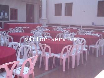 เช่าโต๊ะจีน -เก้าอี้พลาสติก คลุมผ้าโต๊ะสีแดง 5