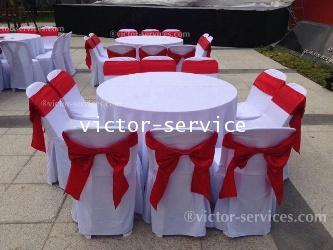 เช่าโต๊ะจีน -เก้าอี้พลาสติกคลุมผ้า ผูกโบว์สีแดง 6