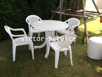 เช่าโต๊ะ-เก้าอี้ - ชุดโต๊ะ-เก้าอี้สนามสีขาว พร้อมร่มสนาม 5