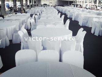 เช่าโต๊ะจีน -เก้าอี้พลาสติก คลุมผ้า 8