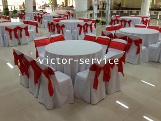เช่าโต๊ะจีน -เก้าอี้พลาสติกคลุมผ้า ผูกโบว์สีแดง 2