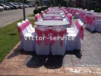 เช่าโต๊ะจีน -เก้าอี้พลาสติกคลุมผ้า ผูกโบว์สีชมพู 3