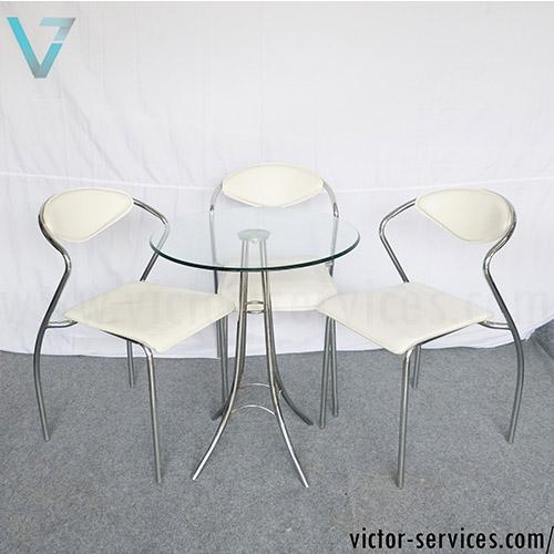 เช่าชุดโต๊ะ-เก้าอี้เบาะหนังเจรจา สีขาว