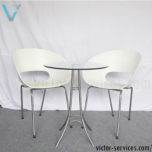 เช่า ให้เช่าชุดโต๊ะ-เก้าอี้ก้นหอยเจรจา สีขาว
