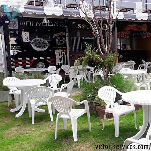 เช่าโต๊ะ-เก้าอี้ - ชุดโต๊ะ-เก้าอี้สนามสีขาว พร้อมร่มสนาม