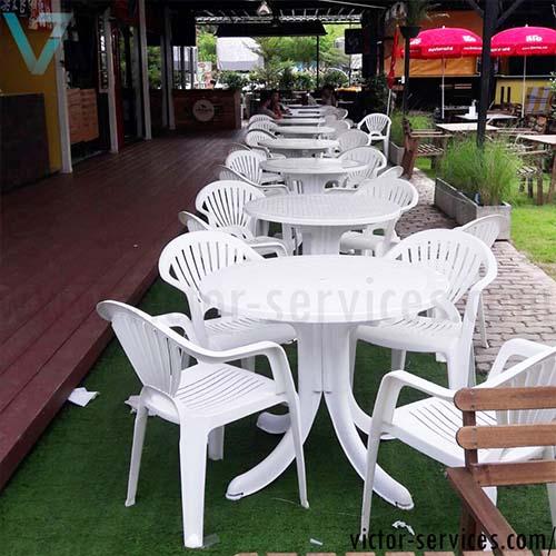 เช่าโต๊ะ-เก้าอี้ - ชุดโต๊ะ-เก้าอี้สนามสีขาว พร้อมร่มสนาม 2