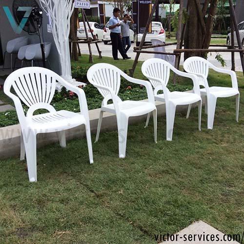 เช่าโต๊ะ-เก้าอี้ - ชุดโต๊ะ-เก้าอี้สนามสีขาว พร้อมร่มสนาม 3