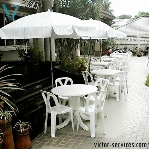 เช่าโต๊ะ-เก้าอี้ - ชุดโต๊ะ-เก้าอี้สนามสีขาว พร้อมร่มสนาม 4