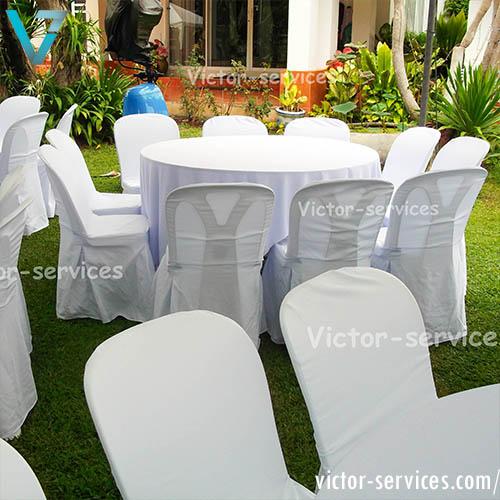 เช่าโต๊ะจีน -เก้าอี้พลาสติก คลุมผ้า 3