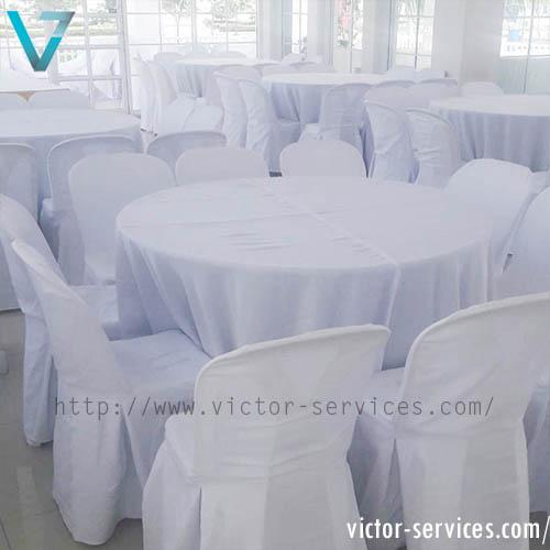 เช่าโต๊ะจีน -เก้าอี้พลาสติก คลุมผ้า 2