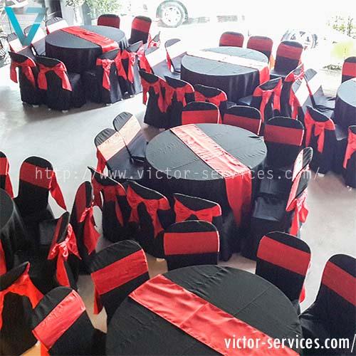 เช่าโต๊ะจีน + เก้าอี้ พลาสิตกคลุมผ้าดำ + โบว์แดง