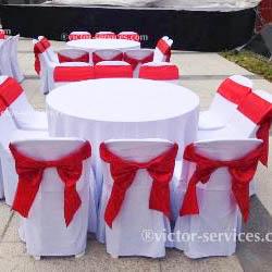 เช่าโต๊ะจีน -เก้าอี้พลาสติกคลุมผ้า ผูกโบว์สีแดง 1