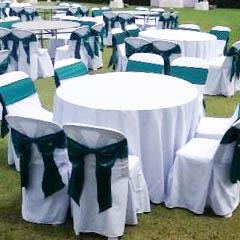 เช่าโต๊ะจีน -เก้าอี้พลาสติกคลุมผ้า ผูกโบว์สีเขียว