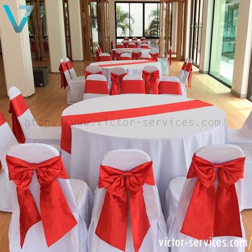 เช่าโต๊ะจีน -เก้าอี้บุนวมคลุมผ้า ผูกโบว์หลากสี VIP