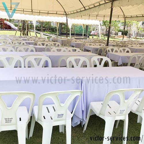 เช่าโต๊ะ - โต๊ะเหลี่ยมหน้าขาวคลุมผ้าขาว(แบบธรรมดา) 1