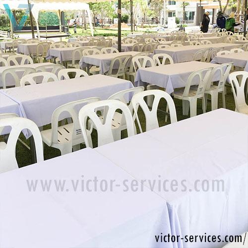 เช่าโต๊ะ - โต๊ะเหลี่ยมหน้าขาวคลุมผ้าขาว(แบบธรรมดา) 2