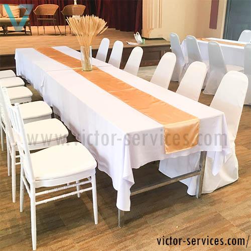 เช่าโต๊ะ - โต๊ะเหลี่ยมหน้าขาวคลุมผ้าขาว(แบบธรรมดา) 3