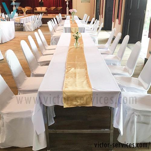 เช่าโต๊ะ - โต๊ะเหลี่ยมหน้าขาวคลุมผ้าขาว(แบบธรรมดา) 4