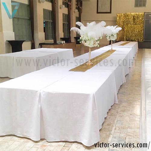 เช่าโต๊ะ - โต๊ะเหลี่ยมหน้าขาว(คลุมผ้ายาวถึงพื้น) *สวยงาม 1