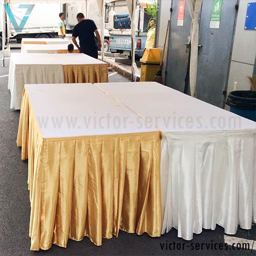 เช่าโต๊ะ - โต๊ะเหลี่ยมหน้าขาวคลุมผ้าขาว+จับจีบหลากสี 2
