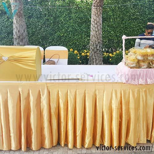 เช่าโต๊ะ - โต๊ะเหลี่ยมหน้าขาวคลุมผ้าขาว+จับจีบหลากสี 3