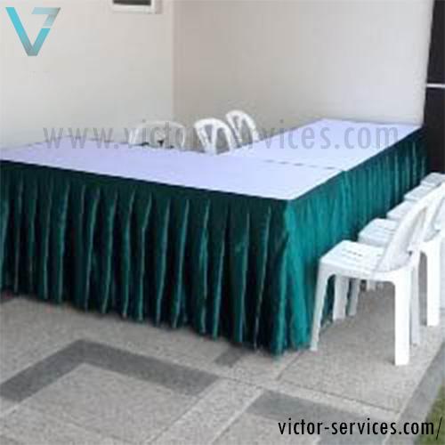 เช่าโต๊ะ - โต๊ะเหลี่ยมหน้าขาวคลุมผ้าขาว+จับจีบหลากสี 9