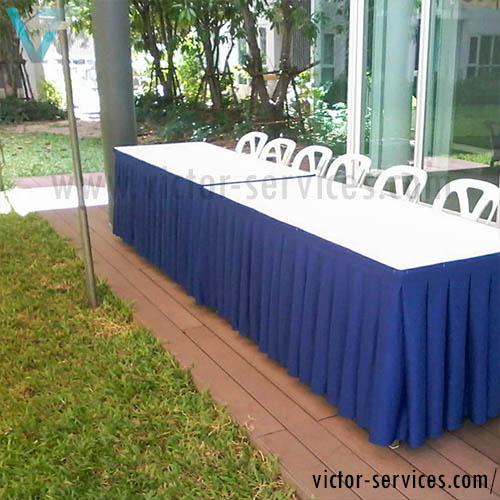 เช่าโต๊ะ - โต๊ะเหลี่ยมหน้าขาวคลุมผ้าขาว+จับจีบหลากสี 6