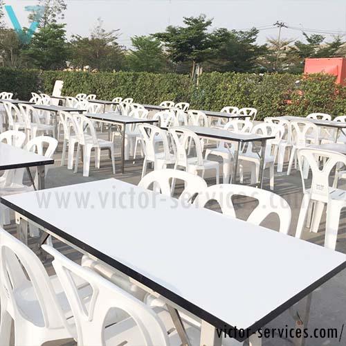 เช่าโต๊ะ - โต๊ะเหลี่ยมหน้าขาว(ไม่คลุมผ้า)