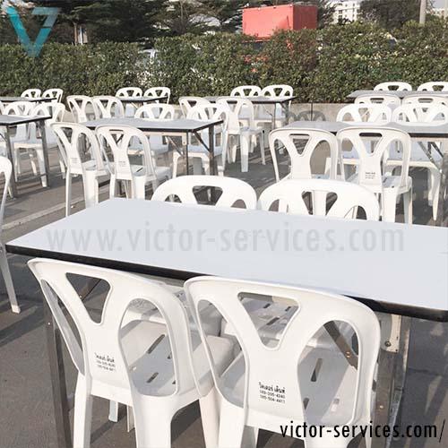 เช่าโต๊ะ - โต๊ะเหลี่ยมหน้าขาว(ไม่คลุมผ้า) 4