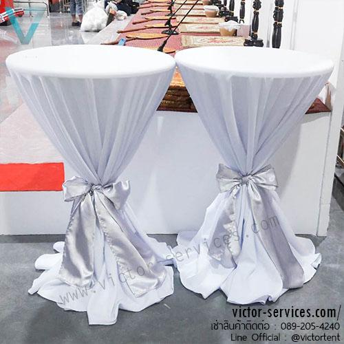 เช่าโต๊ะ - โต๊ะสตูลไฟเบอร์คลุมผ้า+ผูกโบว์(มีให้เลือกหลายสี) 7