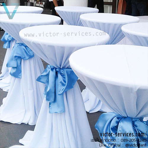 เช่าโต๊ะ - โต๊ะสตูลไฟเบอร์คลุมผ้า+ผูกโบว์(มีให้เลือกหลายสี)