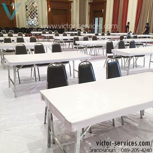 เช่าโต๊ะ - โต๊ะเหลี่ยมหน้าขาว(คลุมพลาสติกขาว) *กันเปื้อน 1